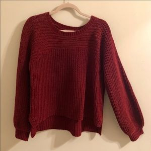 - Free people ribbed thick balloon sleeve sweater